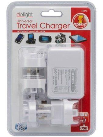 Univerzális utazó adapter 4 USB ajzattal és cserélhető AC dugóval