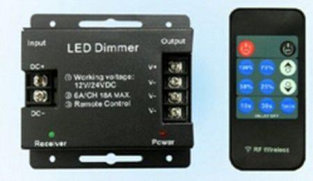 Led szalag dimmer 18A 216W +rádiós távirányító, egyszínű LED szalagokhoz, LED-modulokhoz