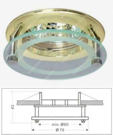 Led beépíthető spot lámpatest, üveg/arany design, fix