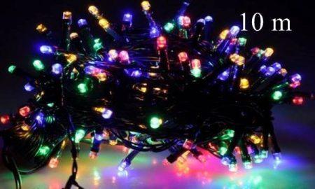LED fényfüzér, rizsszem kültéri  IP44, 100 db RGB leddel, gyorsan, folyamatosan színt váltva világít