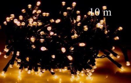 LED fényfüzér, rizsszem IP44, 100 db meleg fehér leddel. 8 funkciós, villogtató memóriás vezérlővel
