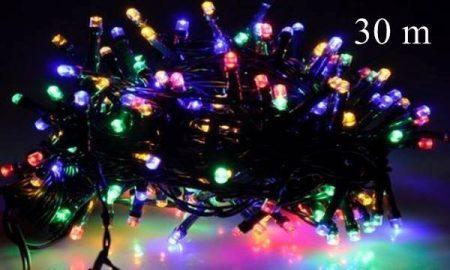 LED fényfüzér, rizsszem  IP44, 300 db multicolor /piros-zöld- kék-sárga/ leddel. 8 funkciós, villogtató memóriás vezérlővel.