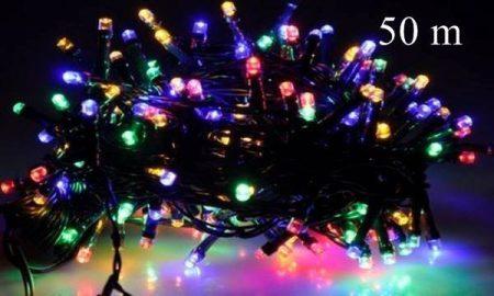 LED fényfüzér, rizsszem  IP44, 500 db multicolor leddel, 8 funkciós, villogtató memóriás vezérlővel.
