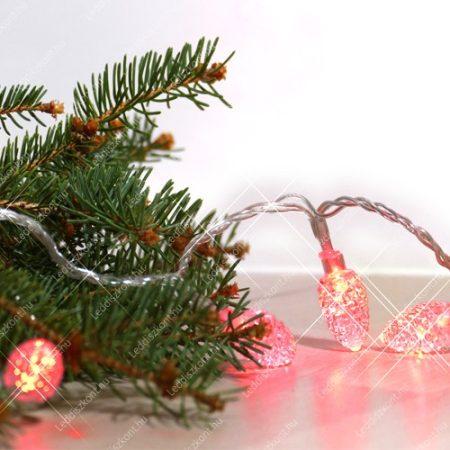 LED toboz kül- és beltéri füzér, 80 db átlátszó fehér toboz piros leddel