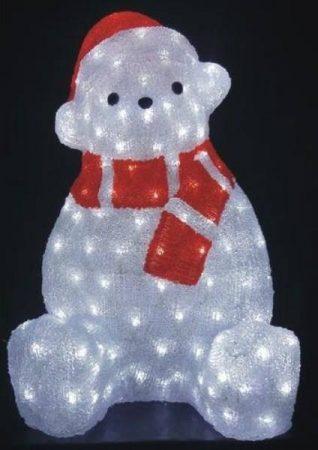 Karácsonyi kül- és beltéri /IP44/ jegesmedve, 130 db hideg fehér leddel, átlátszó kábellel