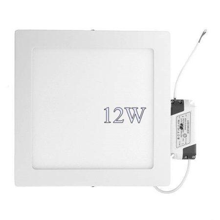 Led panel világítás driverrel, kocka, 12W, közép fehér