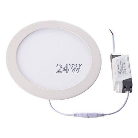 Led panel világítás driverrel, kör, 24W, hideg fehér