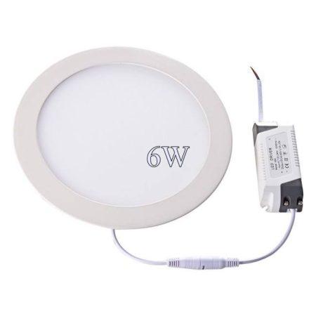 Led panel világítás driverrel, kör, 6W, meleg fehér