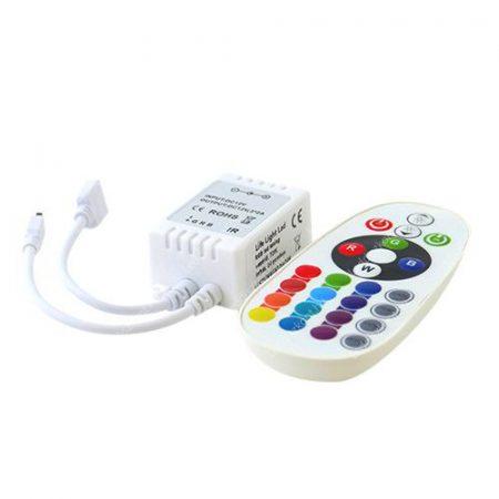 RGB led szalag vezérlő, 72W, infrás 24 gombos