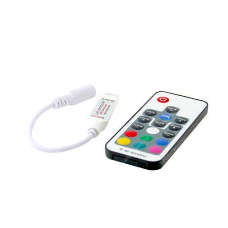 RGB mini led szalag vezérlő  rádiós 17 gomb, 6A, 72W 3 csatorna